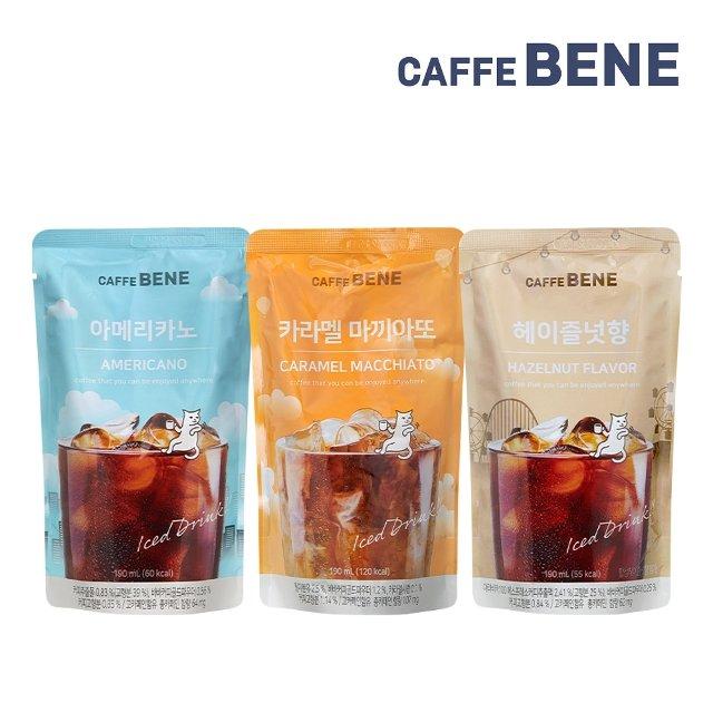 [카페베네] 파우치 커피 3종 30팩(아메리카노+카라멜마끼아또+헤이즐넛향)